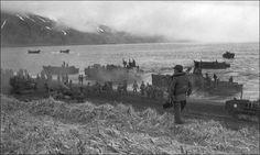 Seventh Infantry Division troops landing at Massacre Bay, Attu, May 1943. Japanese defenses were hidden above the fog line.