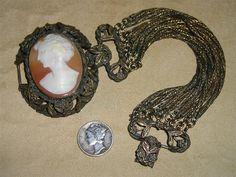 Vintage Bracelet Large Carved Carnelian Shell by drjewelsvern, $300.00