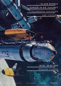 Retro-futurism poster by German illustrator Klaus Bürgle.