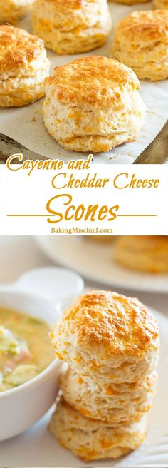 Cayenne and Cheddar Cheese Scones - Warm, buttery cheddar cheese scones with a kick of cayenne. The perfect side for any soup or salad. Recipe includes nutritional information, small-batch and freezer instructions. From BakingMischief.com