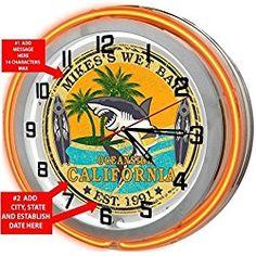 "Wet Bar Personalized 18"" Orange Double Neon Clock from Redeye Laserworks"