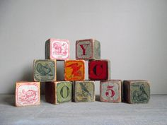 Alphabet Blocks Antique Toy Blocks with Letters, Number and Animals Children's Lithograph Blocks Set of 10. $68,00, via Etsy.