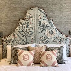 Back to it with another shaped headboard 🤍 Coromandel by was a joy to work with and brought so much charm to this restful new… Cheap Beach Decor, Home Interiors And Gifts, Home Remodeling Diy, Cole And Son, Guest Bedrooms, Master Bedroom, Master Suite, Guest Room, Beautiful Bedrooms