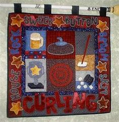 piecefulpatches.com  curling quilt pattern $7.00 Crochet Things, Knit Or Crochet, Curling Canada, Applique Quilts, Quilting Projects, Quilt Patterns, Curls, Projects To Try, Rocks
