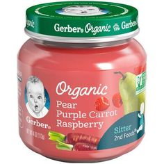 Gerber Organic Foods Apple Wild Blueberry Baby Food, 4 oz Jar (Pack of Blue Baby Puree Recipes, Baby Food Recipes, Raspberry Leaf Tea, Sweet Potato And Apple, Food Tags, Wild Blueberries, Homemade Baby Foods, Organic Fruit, Beets