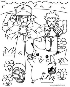 A wonderful coloring page of Pokemon with Ash, Brock and Pikachu!