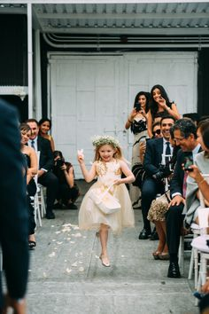 Hands down cutest flower girl moment! http://www.stylemepretty.com/new-york-weddings/new-york-city/2016/04/14/this-chic-nyc-wedding-is-all-sorts-of-breathtaking/ | Photography: Jessica Oh - http://www.jessicaohphotography.com/