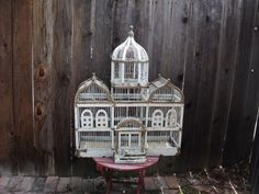 SALE Vintage Wooden Bird Cage white chippy Paint Victorian Shabby Chic Mansion Bird House.//I want this!