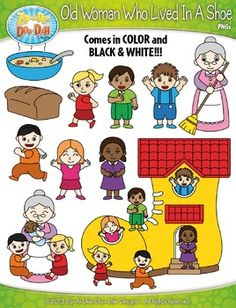 There Was An Old Woman Who Lived In A Shoe Nursery Rhyme Clipart SetYou will receive 30 clipart graphics that were hand drawn by myself  1 Boiling Pot, 1 Loaf of Bread, 1 Bowl of Broth, 3 Boy Children, 3 Girl Children, 1 Old Woman Waving, 1 Old Woman with Children, 1 Old Woman Sweeping, 1 Shoe House and 1 Shoe House with Children.