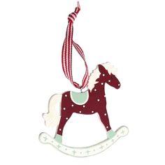 Weihnachtsschmuck Holz Pferd Deko Rot/weiß