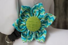 """""""CHEVRON Teal & Lime"""" Collar Flower for dogs and cats. Created and designed by BARKS A LOT BOWTIQUE. Velcro strap secures around any collar. www.barksalotbowtique.com"""