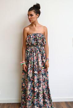 Maxi robe longue bustier liberty fleurie, fluide et maxi dress jersey tendance été romantique style bohème : Robe par menina-for-mathis