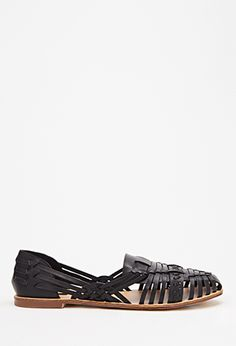 Faux Leather Huarache Flats | Forever 21 - 2000134076