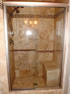 Bathroom Remodel Tile Shower a plain tile type w the same accent for both floor and border