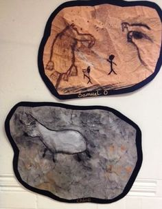 Age Cave Paintings Inspired by the cave paintings at Lascaux the children in my Year 5 class created their own Stone Age art. I asked them firstly to screw up an piece of brown or orange Stone Age Ks2, Stone Age Houses, Stone Age Cave Paintings, Paleolithic Art, Prehistoric Age, Cave Drawings, Ecole Art, Iron Age, Ancient Civilizations