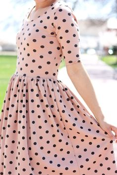 Pink and black polka dot dress Modest Dresses, Pretty Dresses, Dot Dress, Dress Up, Peplum Dress, Pink Dress, Moda Fashion, Womens Fashion, Boutique Fashion
