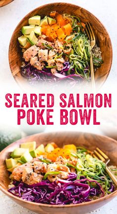 This delicious spin on a salmon poke bowl features seared salmon and veggies in a colorful bowl, an easy dinner idea perfect for weeknights or entertaining! // 599 cal, F, Salmon Poke Bowl Recipe, Poke Recipe, Carne, Fresco, Salmon And Rice, Couple Cooking, Cooking Salmon, Quick Dinner Recipes, Asian