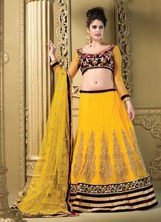 Women's Net Fabric & Yellow Pretty A Line Lehenga Style With Resham Work Dupatta #lehenga #online_lehenga #yellow_lehenga #resham_lehenga #fabric_lehenga #pretty_lehenga #net_fabric_lehenga #stylist_lehenga #ambif