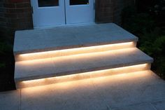 rigid bar strip lights under the steps.Now you wont ever trip over the stairs at dark! #homelighting #lightingprojects #LED