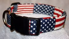 American Flags Adjustable BUCKLE Dog Collar Red White Blue Patriotic USA on Etsy, $13.00