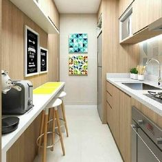 Cheerful and cozy kitchen in the hallway ! Kitchen Room Design, Home Room Design, Kitchen Interior, Kitchen Decor, Kitchen Walls, Narrow Kitchen, Cozy Kitchen, Kitchen Sets, Condo Interior Design