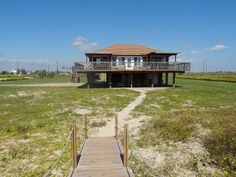 Galveston house rental - View of our house form the beach...