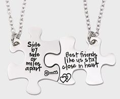 A pretty pair of puzzle heart necklaces that'll let you carry a piece of your best friend at all times. #necklace