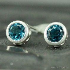 Stud Earrings Bezel Set  Gemstone Post Earrings  by PPennee, $58.00