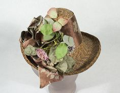 Straw summer bonnet, c.1880, from the Vintage Textile archives.