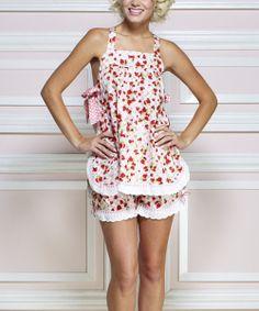 Look what I found on #zulily! Jessie Steele Pink & White Strawberry Gingham Babydoll Set by Jessie Steele #zulilyfinds