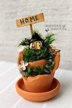 "2"" Mini Broken Pot Fairy Garden/Reminder Garden/Miniature Garden/Home Gift/Housewarming Gift/Desktop Garden/New Home"