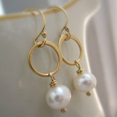 Bridesmaid jewelry, Halo pearl earrings, gold vermeil hoops, freshwater pearls, gold filled ear wires, gold earrings