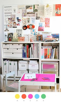 White storage holders make it so much cleaner and neater with the pops of color.