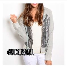 Sequin Zip Up Hoodie Heather grey mixed media zip up hoodie. Made of cotton & sequin. Brand new with out tags. Jackets & Coats