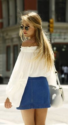 #summer #fashion / white off-the-shoulder top + chambray skirt