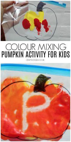 Fall Preschool Activities, Preschool Art Projects, Toddler Activities, Kindergarten Crafts, Pumpkin Preschool Crafts, October Preschool Themes, Toddler Sensory Bins, Sensory Bags, Holiday Activities