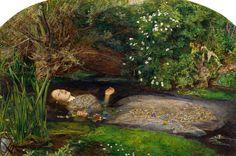 John Everett Millais pinta a la Ofelia de Shakespeare en el icono de la pintura Prerrafaelita. La modelo fue Elisabeth Siddal.