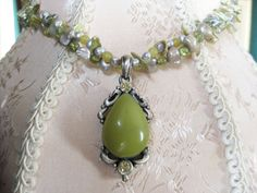 Two Strand Peridot, Lemon Yellow Jade and Freshwater Pearl Pendant Necklace on Etsy, $68.00