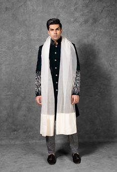 Teal Velvet Sherwani with Hand embroidered Sleeves - Manish Malhotra Engagement Dress For Groom, Wedding Dress Men, Indian Wedding Wear, Engagement Dresses, Wedding Men, Wedding Suits, Sherwani Groom, Mens Sherwani, Indian Men Fashion