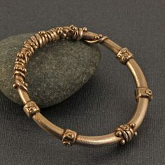 Gold bronze bangle ancient style Goldie by KathrynDesignsArt