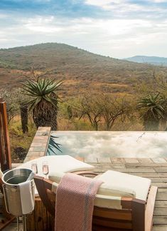 Rhino Ridge in KwaZulu Natal, South Africa has four types of accommodation: two honeymoon bush villas with private plunge pools; eight luxury bush villas with huge open-plan bedrooms, a lounge area, fireplace, minibar, full bathroom and large viewing deck; four safari rooms with a private shower room leading on to a deck area with unforgettable views. Timbuktu Travel.