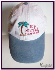 New Embroidered Cap It s 5 OClock Somewhere with Palm Tree White w Light  Blue Bill Cotton Hat 10a0ced88d40