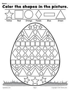Easter Math Worksheets Kindergarten Easter Coloring Pages for Grade Easter Worksheets Nd Easter Worksheets, Shapes Worksheets, Printable Worksheets, Free Printable, Number Worksheets, Coloring Worksheets, Easter Coloring Pages Printable, Alphabet Worksheets, Spring Activities
