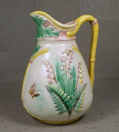 Image detail for -Lear majolica pottery pitcher, fern, lily of the : Lot 6333