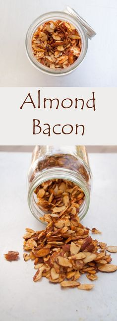 Almond Bacon (vegan, gluten free) - This easy vegan bacon is smoky with a touch . Almond Bacon (vegan, gluten free) - This easy vegan bacon is smoky with a touch of sweet. It adds a nice crunchy texture to any dish you use it in. Healthy Vegan Snacks, Vegan Appetizers, Vegan Foods, Vegan Dishes, Lunch Ideas Vegan, Vegan Party Food, Vegan Lunches, Vegan Meals, Bacon Recipes