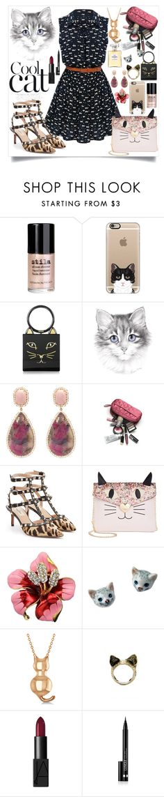 """""""I love cats!"""" by aphrodite-shomaly ❤ liked on Polyvore featuring Stila, Casetify, Charlotte Olympia, Irene Neuwirth, Valentino, Betsey Johnson, Allurez, Retrò, NARS Cosmetics and Clinique"""