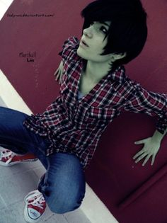 Adventure Time Cosplay: Marshall Lee 02 by LadyNoa on DeviantArt Adventure Time Cosplay, Adventure Time Anime, Cosplay Anime, Male Cosplay, Halloween Cosplay, Cosplay Costumes, Cosplay Ideas, Marshall Lee Cosplay, Marshall Lee Adventure Time