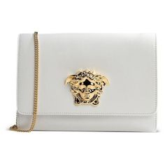 Versace White Medusa Clutch (£530) ❤ liked on Polyvore featuring bags, handbags, clutches, white, genuine leather purse, versace handbags, leather handbags, white clutches and white purse