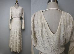 1930s silk lace bias cut wedding dress/ 30s by GidgetteBardot, $240.00