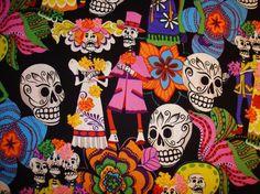 Los Novios from Alexander Henry Fabrics Dia de los Muertos Day of the Dead. $9.50, via Etsy.
